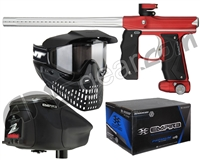 Empire Mini GS Gun, JT ProFlex Mask & Empire Z2 Loader w/ FREE 500 Rounds Of Premium Paint - Dust Red/Silver