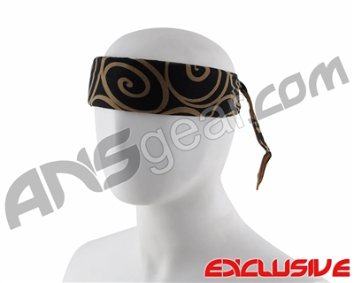 Full Clip Headband - Swirls Gold on Black