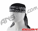 Full Clip Headband w/ Netting - Skull Wings White