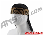 Full Clip Headband w/ Netting - Swirls Black on Gold