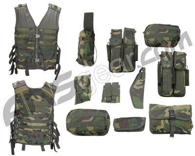 Gen X Global Lightweight Modular Paintball Vest - Woodland Camo