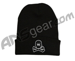 HK Army Skull Beanie - Black/White Stitch