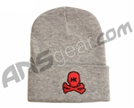HK Army Skull Beanie - Grey/Red Stitch