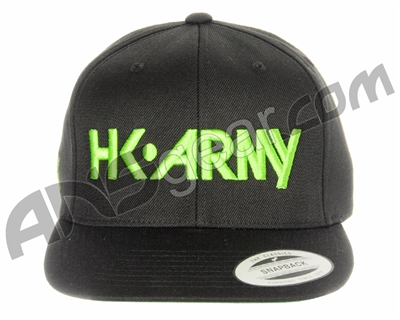 HK Army Snap Back Typeface Hat - Black/Neon