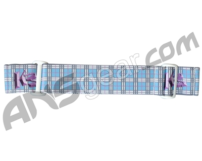 KM Paintball Goggle Strap - 09 Baby Blue w/ Purple Plaid