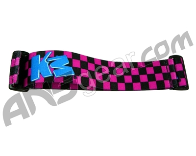 KM Paintball Goggle Strap - Checkered Black/Pink
