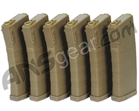 KWA M4/M16 120 Round Mid-Cap Magazine - 6 Pack - Flat Dark Earth