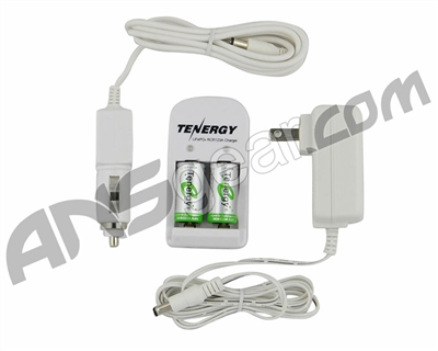 Tenergy LiFePO4 RCR123A 3.0V 750mAh Rechargeable Batteries w/ Smart Charger