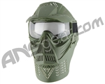 Full Coverage Tactical Airsoft Mask - Clear Goggles - Green