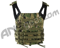 Defcon Gear Low Profile Plate Carrier Airsoft Vest - Digital Woodland