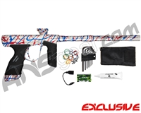 Dye DSR Paintball Gun - Classic Splash Silver w/ Blue/Red