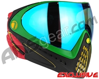 Dye Invision I4 Pro Mask - Rasta w/ Dyetanium Blue Flash Lens