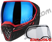 Empire EVS Paintball Mask - Black/Red w/ Blue Mirror Lens