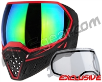 Empire EVS Paintball Mask - Black/Red w/ Green Mirror Lens