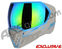 Empire EVS Paintball Mask - Grey/Cyan w/ Green Mirror Lens