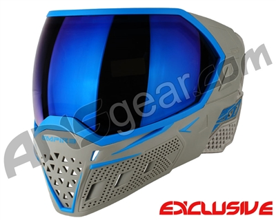 Empire EVS Paintball Mask - Grey/Cyan w/Blue Mirror Lens