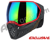 Empire EVS Paintball Mask - SE Weave Red w/ Green Mirror Lens