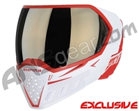 Empire EVS Paintball Mask - White/Red w/ Black Chrome Mirror Lens