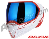 Empire EVS Paintball Mask - White/Red w/ Blue Mirror Lens