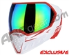 Empire EVS Paintball Mask - White/Red w/ Green Mirror Lens
