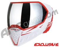 Empire EVS Paintball Mask - White/Red w/ Silver Mirror Lens