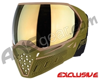Empire EVS Paintball Mask w/ Additional Lens - Olive/Tan w/ Gold Mirror Lens