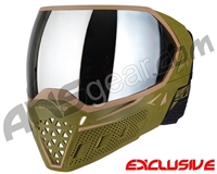 Empire EVS Paintball Mask w/ Additional Lens - Olive/Tan w/ Silver Mirror Lens