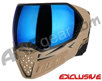 Empire EVS Paintball Mask w/ Additional Lens - Tan/Black w/ Blue Mirror Lens