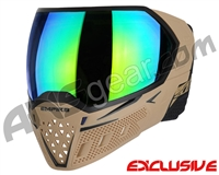 Empire EVS Paintball Mask w/ Additional Lens - Tan/Black w/ Green Mirror Lens