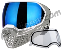 Empire EVS Paintball Mask w/ Additional Lens - White/Grey w/ Blue Mirror Lens