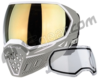 Empire EVS Paintball Mask w/ Additional Lens - White/Grey w/ Gold Mirror Lens