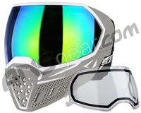 Empire EVS Paintball Mask w/ Additional Lens - White/Grey w/ Green Mirror Lens