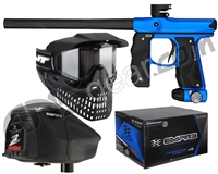 Empire Mini GS Gun, JT ProFlex Mask & Empire Z2 Loader w/ FREE 500 Rounds Of Premium Paint - Blue/Black