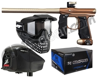 Empire Mini GS Gun, JT ProFlex Mask & Empire Z2 Loader w/ FREE 500 Rounds Of Premium Paint - Dust Brown/Dust Bronze