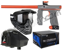 Empire Mini GS Gun, JT ProFlex Mask & Empire Z2 Loader w/ FREE 500 Rounds Of Premium Paint - Grey/Orange