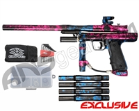 Empire Resurrection Autococker Paintball Gun - Polished Acid Wash Pink w/ Blue Accents