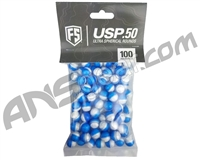 Tiberius Arms First Strike .50 Cal Ultra-Sphere Projectiles (USP) 100 Count - Blue/Clear Shell - White Powder Fill