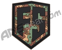 First Strike Rubber Velcro Patch - Shield - Woodland