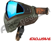 First Strike Push Unite Mask - Olive/Brown w/ Chrome Blue Lens