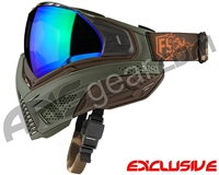 First Strike Push Unite Mask - Olive/Brown w/ Chrome Green Lens