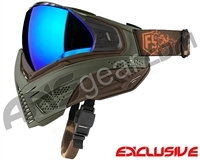 First Strike Push Unite Mask - Olive/Brown w/ Chrome Purple Lens