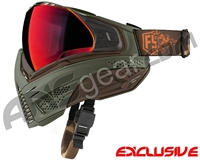 First Strike Push Unite Mask - Olive/Brown w/ Chrome Red Lens