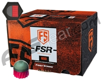 Tiberius Arms First Strike Paintballs 600 Count w/ Free Velcro Patch - Smoke/Fire Red Shell - Yellow Fill