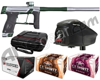 GI Sportz Stealth Paintball Gun w/ Empire Prophecy Z2 Loader & 1 Case Of Tournament Paint - Silver/Green