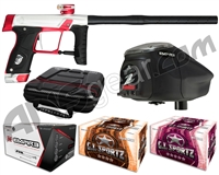 GI Sportz Stealth Paintball Gun w/ Empire Prophecy Z2 Loader & 1 Case Of Tournament Paint - Silver/Red