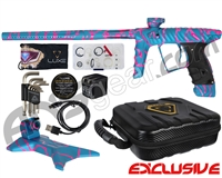 HK Army Luxe X Paintball Gun w/ FREE Matching Gun Stand - Dust Teal/Pink Splash