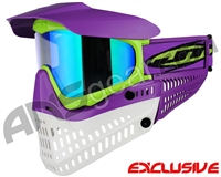Jt ProFlex Thermal Paintball Mask - Purple/Lime/White w/ Prizm 2.0 Fluorite Lens