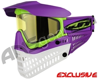 Jt ProFlex Thermal Paintball Mask - Purple/Lime/White w/ Yellow Lens