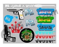 "KM Paintball Sticker Sheet - 8""x11"""