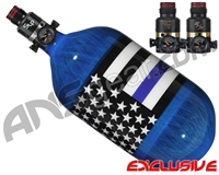 Ninja Lite Carbon Fiber Air Tank - 68/4500 w/ Pro V2 Series Regulator - SE Blue Lives